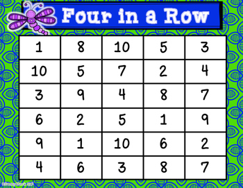 Number Words Four-in-a-Row Game (Math Center)