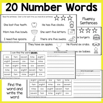 Number Words Sight Words Books