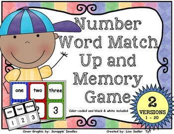Number Words Match Up and Memory Game