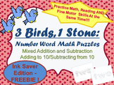 FREE! Number Words Math Puzzle - Adding To and Subtracting