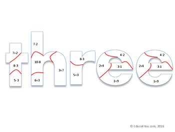 Number Words Math Puzzle -Mixed Addition and Subtraction - INK SAVER EDITION!
