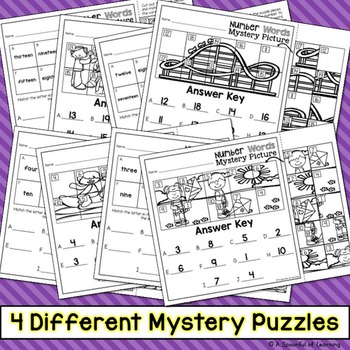 Number Words Mystery Puzzles