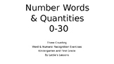 Number Words, Numbers, Numerals and Quantities Set