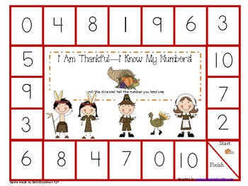 Number Words, Numbers and teen Numbers Thanksgiving Games