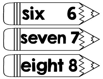 Number Words Pencil Theme Word Wall