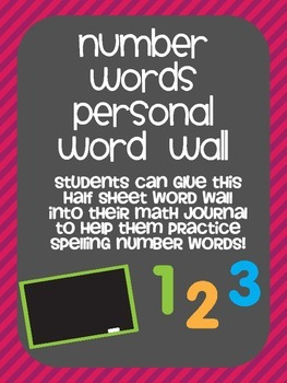 Number Words Personal Word Wall