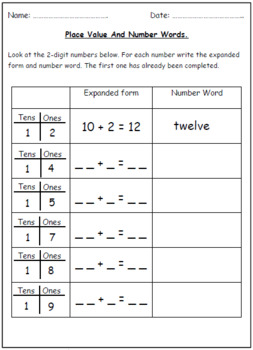 Number Words & Place Value Worksheets (Tens & Ones).