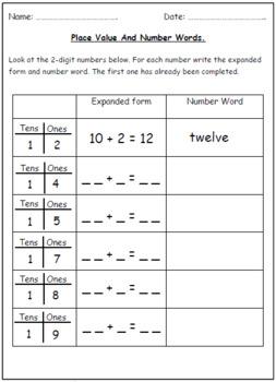 Number Words & Place Value Worksheets (Tens & Ones).