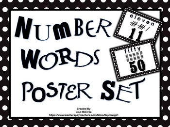 Number Words Poster Set In Black & White