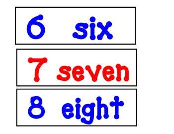 Number Words Posters-Red and Blue