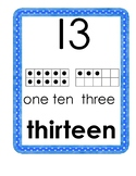 "Number Words Posters with ""Say Ten Way"" and Tens Frames: 0-20 and Tens to 100"