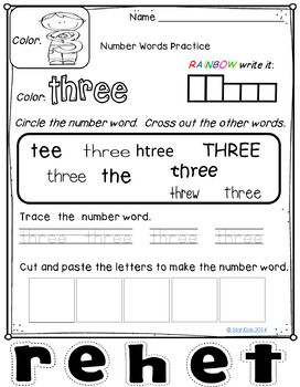 Number Words Practice for Kindergarten and First Grade