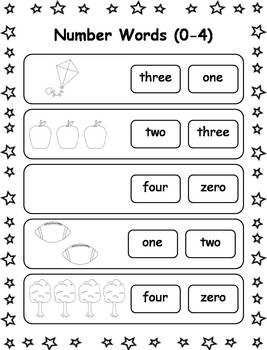 Number Words Printable Worksheets