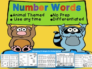 Number Words Printables - No Prep - Differentiated