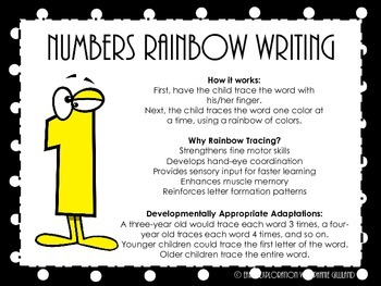 Number Words Rainbow Writing