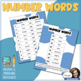 Number Words Reference Sheet