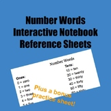 Number Words Reference Sheet for Interactive Notebooks