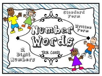 Number Words Task Card Activity Set (Blue)
