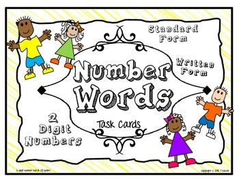 Number Words Task Card Activity Set (Yellow)