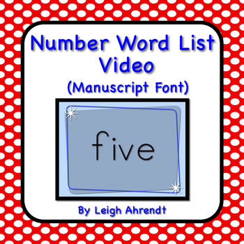 Number Words Video  (Manuscript Font)