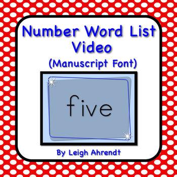 Number Words Video  (Manuscript Font)