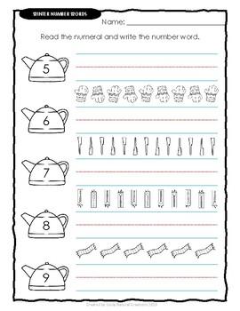 Number Words WINTER Worksheets
