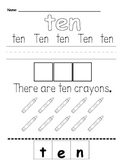 Number Words Worksheet--Common Core Math and ELA