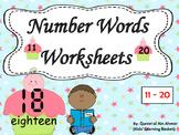 Number Words Worksheets (11-20):
