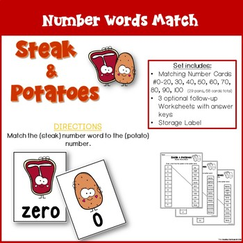 Number Words and Number Match - Steak and Potatoes