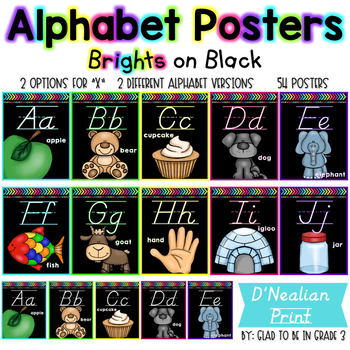Alphabet Posters ~ Brights on Black {D'Nealian Print}