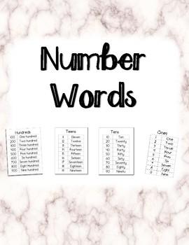 Number Words (ones, teens, tens, hundreds)