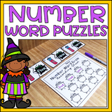 Number Words to 10 Halloween Math Center Kindergarten Activity