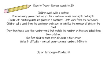 Number Words to 20 - Race to Trace