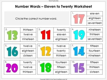 Number Words to Twenty