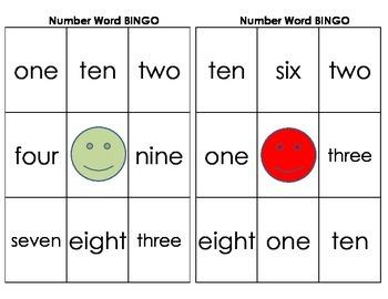 Number Words zero-ten BINGO