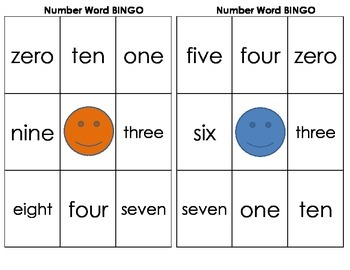 Number Words zero-ten BINGO