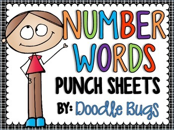 Number Words (zero-twelve) Punch Sheets / Printables