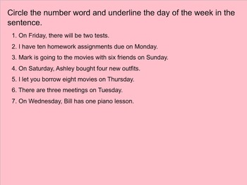 Number Words(One-Ten) and Days of the Week Smartboard Presentation