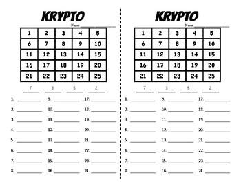 Number Work - Krypto - PreMade Half Pages - Build Number Fluency