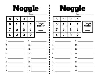 Number Work - Noggle - PreMade Half Pages - Build Number Fluency