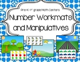 Math Mats with Printable Manipulatives for Centers (Count, Add, and Subtract)