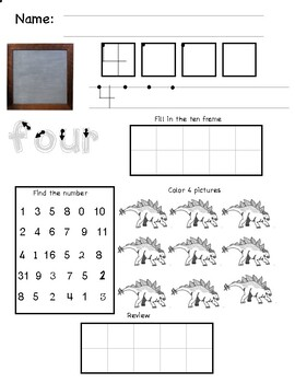 Number Worksheet 1-5 Dinosaurs