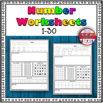 Number Sense Activity: Worksheets for numbers 1-30