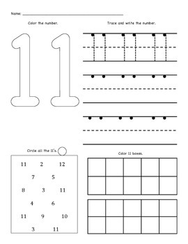Number Worksheets (11 - 20)