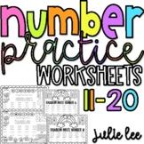 Number Worksheets 11-20 Number Practice Teen Numbers