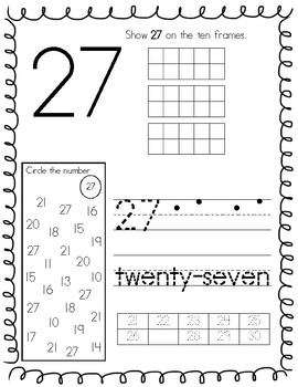 Number Worksheets 21-30 by Stacia Bernath | Teachers Pay ...