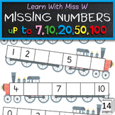 Missing numbers to worksheets - to 7, 10, 20, 50 and 100
