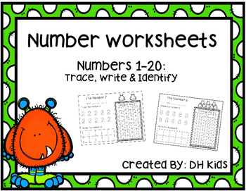 Number Worksheets - Numbers 1-20 - Trace, write and identify