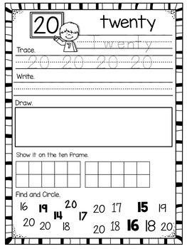 Number Worksheets for 1-20