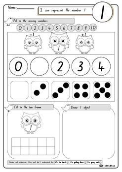 Number Worksheets:1-10, 60 printable pages UK spelling (Kindergarten)